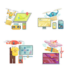 using drone concept vector image