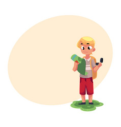 teenage caucasian boy with a backpack studying map vector image