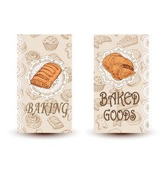 Hand drawn sketch bread posters set eco vector