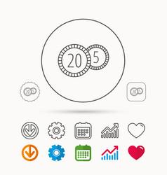 Coins icon cash money sign vector