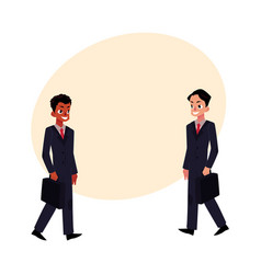 Black african and caucasian businessmen in vector