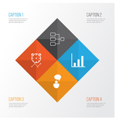 Authority icons set collection of bar chart vector