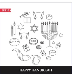 Famous symbols for the jewish holiday hanukkah vector