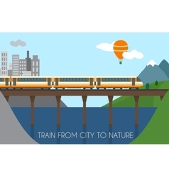 Train on railway and bridge vector