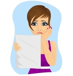 Unhappy woman reading a letter with bad news vector
