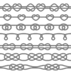 Set of rope knots decorative seamless elements vector