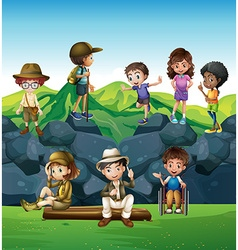 Children hiking and camping in the field vector