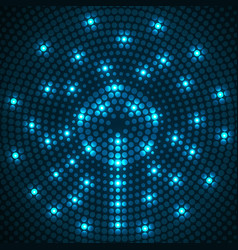 Abstract glowing dotted background radial pattern vector