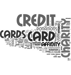 Affinity credit cards text word cloud concept vector