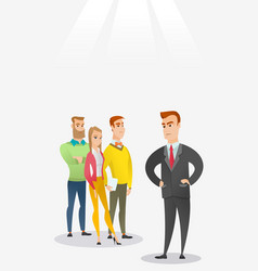 angry boss with employees during meeting vector image
