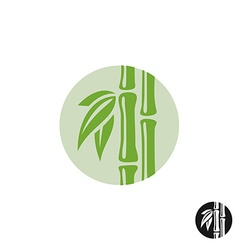 Bamboo logo leaves and stem in a round badge vector
