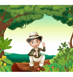 Boy in nature vector image