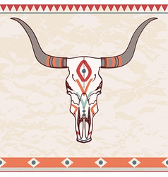 Bull skull with ethnic ornament vector