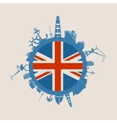Cargo port relative silhouettes britain flag vector