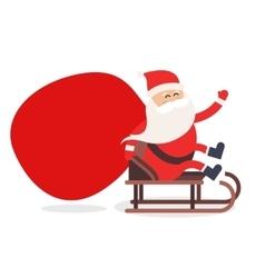 Cartoon Santa Claus gift sack delivery vector image