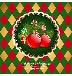Christmas vintage background with balls vector image vector image