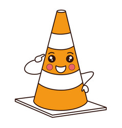 Construction cone kawaii character vector