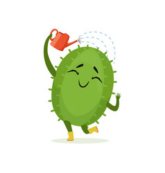 cute cactus watering itself from red watering can vector image vector image
