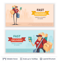Deliveryman and ad text vector