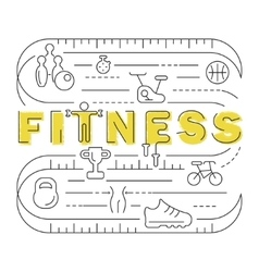 Fitness banner in modern thin line vector