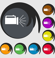 Flashlight icon sign symbols on eight colored vector