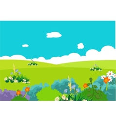 Flower and clouds lanscape vector