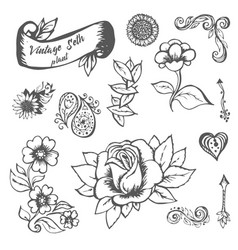 Flowers and leaves hand painted vector