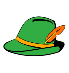 Green hat with feather icon cartoon vector