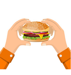 Hamburger holding in hand eating fast food vector