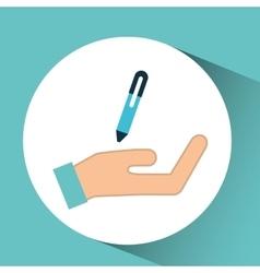 Hand pen writing financial icon vector