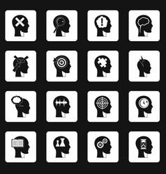 Head logos icons set squares vector
