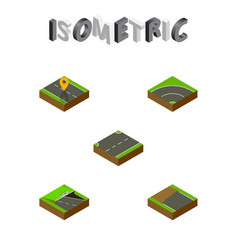 Isometric way set of navigation upwards vector