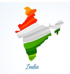 Map of india with tricolor vector