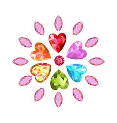 Marquise heart cut gems vector