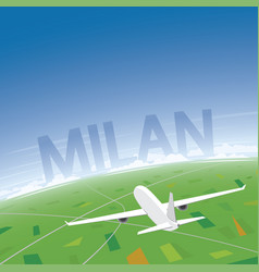 Milan flight destination vector