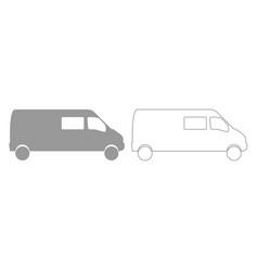 Minibus grey set icon vector