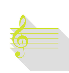 Music violin clef sign g-clef pear icon with vector