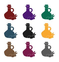 olive oil bottle with black olives icon in black vector image