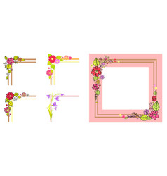 Pink frame thick parallel lines bouquet in corner vector