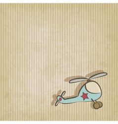 Retro background with helicopter vector