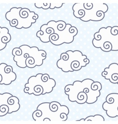 Seamless pattern with funny clouds on dotted light vector image vector image