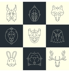 Set of animals linear flat icons labels vector image