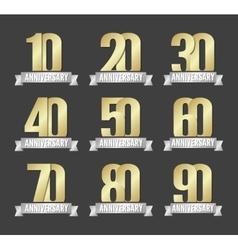 Set of anniversary golden signs vector