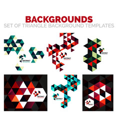 Set of colorful mosaic triangle backgrounds vector