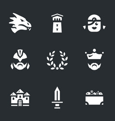 set of dragon story icons vector image vector image
