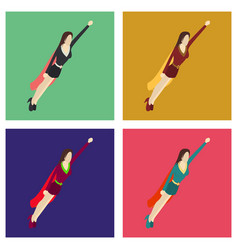 Set of super hero woman flat poster in comic style vector