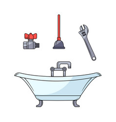 Sketch plumbing set vector