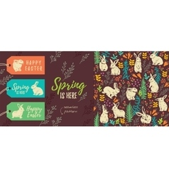 Spring is here Set of Easter tags and seamless vector image vector image