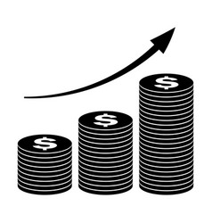 stack of coins icon growth concept in flat style vector image vector image