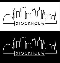 Stockholm skyline linear style editable file vector